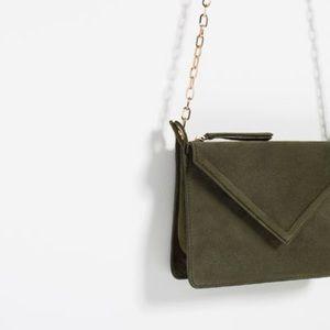 NWT Zara Leather Envelope Crossbody Chain Purse